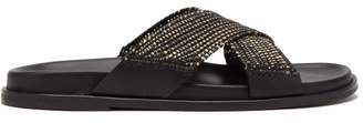 Casablanca 1942 - Xar Crossover Strap Leather Sandals - Mens - Black Multi