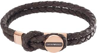 Emporio Armani Brown Leather Stainless Steel Rose Gold IP Clasp Mens Bracelet