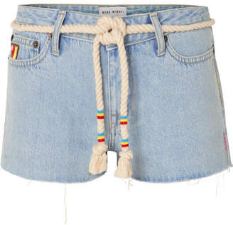 Mira Mikati Belted Embroidered Denim Shorts - Light denim