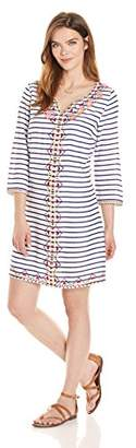 Ella Moon Women's Livi 3/4 Sleeve Striped Neon Center Embellished Shift Dress