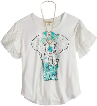 Self Esteem Girls 7-16 Tiered Sleeve Graphic Tee with Necklace