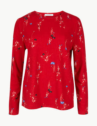 M&S Collection Printed Round Neck Long Sleeve T-Shirt