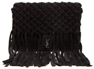 Saint Laurent Tasseled Woven Suede Clutch Bag - Womens - Black