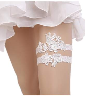 Xugq66 Rhinestones Lace Wedding Bridal Garter Belt 2pc