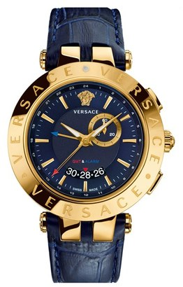 Men's Versace 'V-Race Gmt' Round Leather Strap Watch, 46Mm $1,795 thestylecure.com