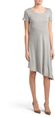 Cable & Gauge Cg Striped A-line Dress With Asymmetric Hem