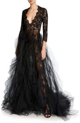Oscar de la Renta Lace-Bodice Plunging V-Neck Tulle-Skirt Gown
