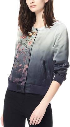 Ecru Charmeuse Silk Bomber Jacket