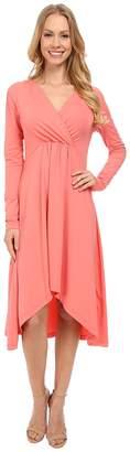 Mod-o-doc Cotton Modal Spandex Jersey 3/4 Sleeve Shirred Empire Hi-Low Dress Women's Dress
