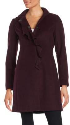 Larry Levine Plus Ruffled Wool-Blend Coat