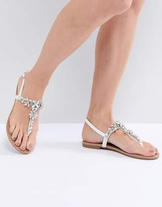 Faith Jile Silver Embellished Flat Sandals
