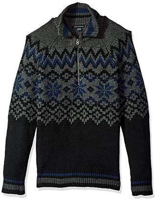 French Connection Men's Ski Fairisle Half Zip Sweater