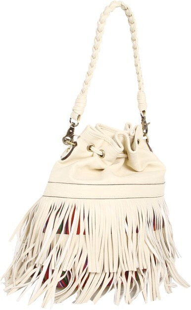 Melie Bianco Cameron Fringe Braided Bucket Bag W/Ethnic Print (Ivory) - Bags and Luggage