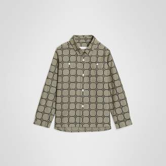 Burberry Flower Print Cotton Shirt , Size: 3Y, Green