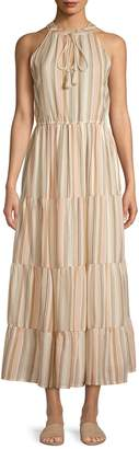 Lori Michaels Striped Tiered Cotton Maxi Dress