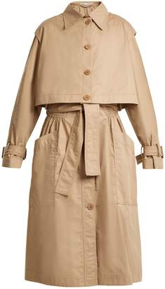 Caban elasticated-waist cotton trench coat