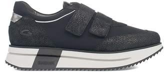 Alberto Guardiani (アルベルト グァルディアーニ) - Alberto Guardiani Black Lady Sport Way Suede Glitter Fabric Insert Slip On Sneakers