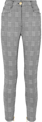 Balmain Prince Of Wales Checked Cotton-blend Slim-leg Pants - Gray