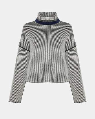 Theory Oversized Stripe Mix Turtleneck
