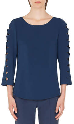 Akris Punto Boat-Neck Blouse with Laser-Cut Sleeves