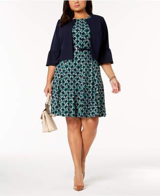Jessica Howard Plus Size Belted Dress & Bell-Sleeve Jacket
