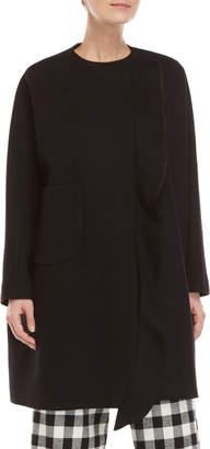 Hache Black Ruffle Wool Coat