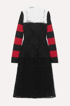 Prada Paneled Guipure Lace And Cotton-blend Jersey Midi Dress - Black