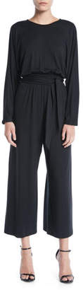 Rachel Pally Asta Crewneck Long-Sleeve Belted Wide-Leg Jersey Jumpsuit, Plus Size