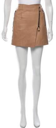 Reed Krakoff Leather Mini Skirt Tan Leather Mini Skirt