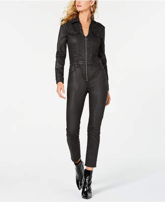 GUESS Harrie Faux-Leather Zippered Jumpsuit