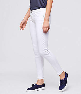LOFT Curvy Double Frayed Skinny Ankle Jeans in White