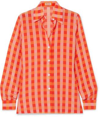 LHD - Star Island Gingham Silk Crepe De Chine Shirt - Orange