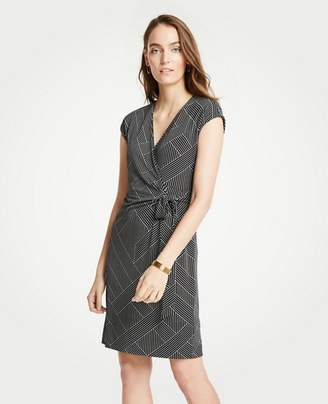 Ann Taylor Petite Cross Stripe Cap Sleeve Wrap Dress