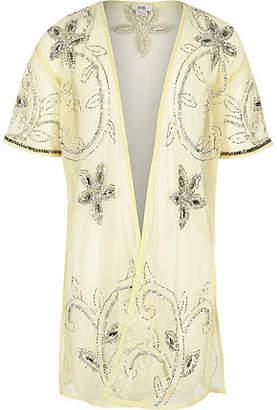 River Island Girls yellow embellished longline kimono