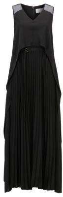 BOSS Hugo Layered crepe maxi dress plisse skirt 4 Black