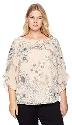 Calvin Klein Women's Plus Size Printed Chiffon Blouse with Ruffle Sleeve