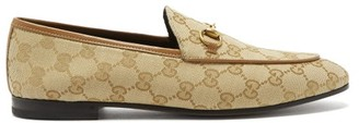 Gucci Jordaan Gg Jacquard Canvas Loafers - Womens - Beige