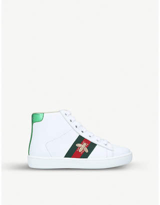 Gucci New Ace logo-taping leather high-top trainers 4-8 years