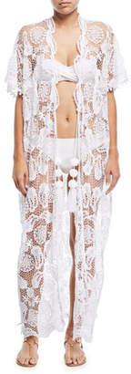 Miguelina Priscilla Mirage Allover Lace Kimono Coverup