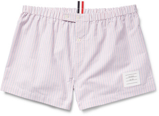 Thom Browne Striped Cotton Oxford Boxer Shorts $200 thestylecure.com