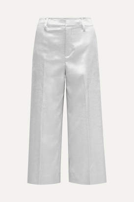 Vince Cropped Metallic Stretch-shantung Wide-leg Pants - Silver