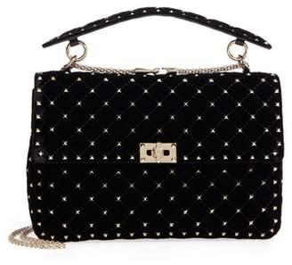 Valentino Rockstud Matelasse Velvet Shoulder Bag