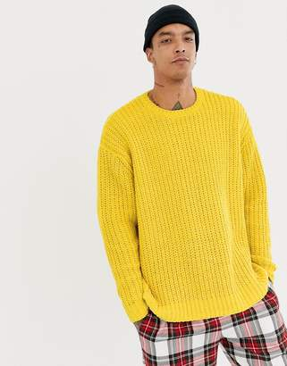 Asos DESIGN knitted oversized chenille sweater in yellow