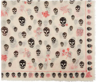 Alexander McQueen Ivory Skull and Roses Scarf