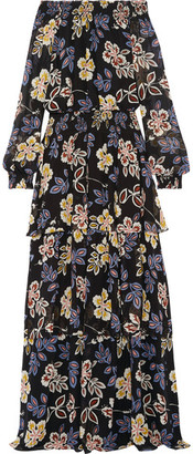 Tory Burch - Indie Tiered Printed Silk-georgette Maxi Dress - Black $795 thestylecure.com