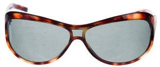 Bottega Veneta Tortoiseshell Wrap Around Sunglasses w/ Rivets