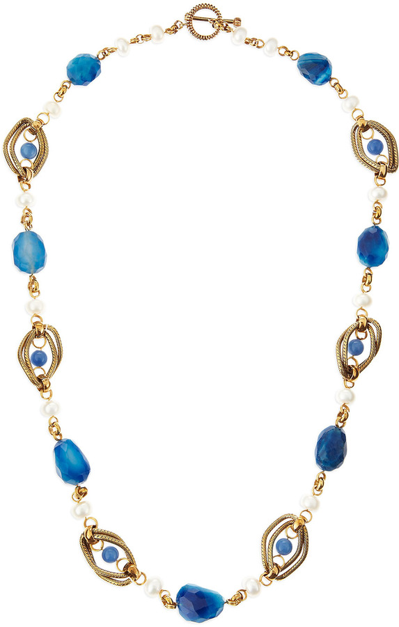 Stephen Dweck Blue Agate Twisted Chain Necklace