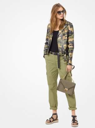 MICHAEL Michael Kors Camouflage Leather Moto Jacket
