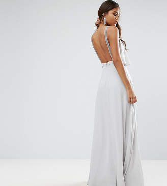 Asos Tall TALL Embellished Strap Back Crop Top Maxi Dress