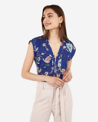 Express Floral Zip Front Chelsea Popover